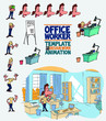 Female office worker template character with decoration and elements for design and animation. The character is angry, sad, happy, doubting. Vector illustration to funny cartoon character.