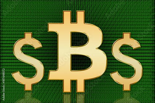 Golden Bitcoin Vs Us Dollar Symbols Digital Currency Buy This