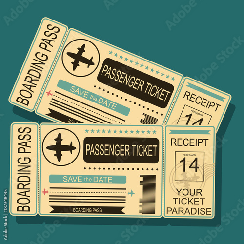 Airplane Boarding Pass With A Barcode And Seal Vector Illustration