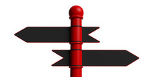 Black Metal Opposite Signposts On Red Pole, Isolated On White Background. 3d Illustration