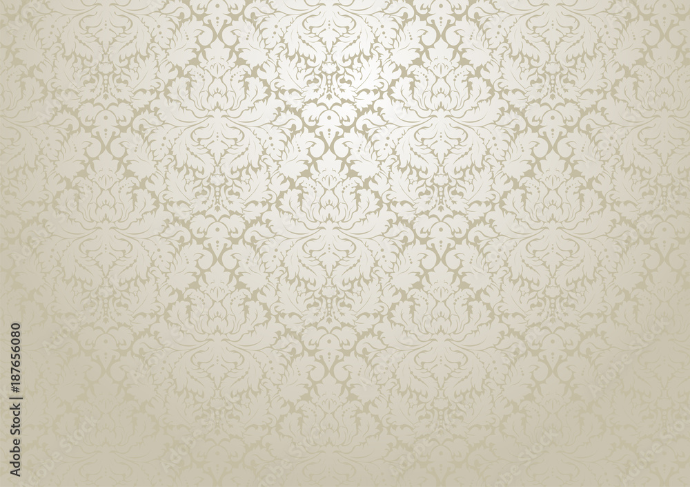 Fototapeta Vector damask wallpaper design.  Seamless repetitive floral decoration.  The original pattern in the swatches palette.