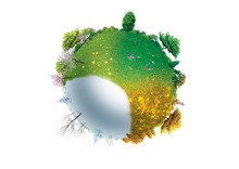 Four Seasons Of Planet Earth Isolated On White Background