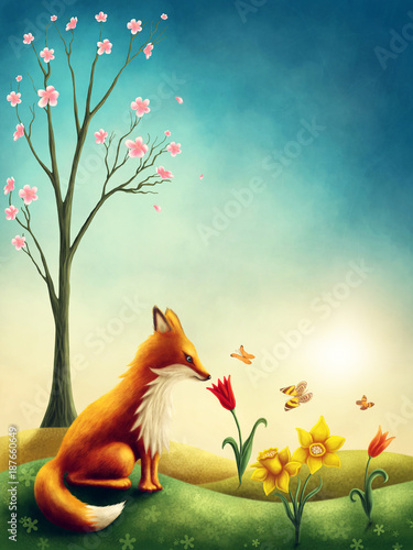 Illustration of a little red fox Fototapet