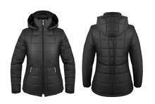 Black Down Jacket With Hood Front And Back Isolated On White