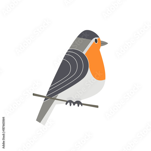 Photo  Cute Robin bird icon