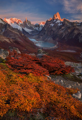 Autumn in Fitzroy mountain, Southern Patagonia, on the border between Argentina and Chile.