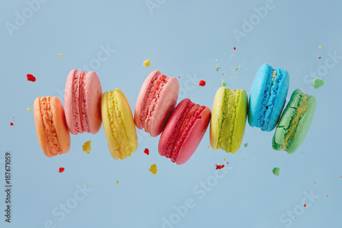 Colorful macarons cakes. Small French cakes.
