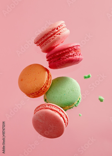 Recess Fitting Macarons Colorful macarons cakes. Small French cakes.