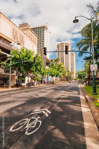 Beautiful sunny streets of Honolulu, Hawaii with many plants, bike lane and traffic lights.