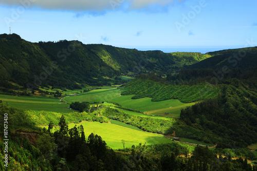 Staande foto Zwart Sete Cidades landscape, Sao Miguel Island, Azores, Europe