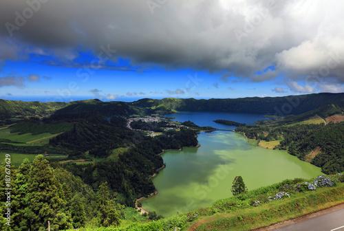 Keuken foto achterwand Grijze traf. Landscape of Sete Cidades in Sao Miguel island, Azores Archipelago, Poprtugal, Europe