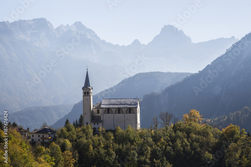 High angle view of church against mountains