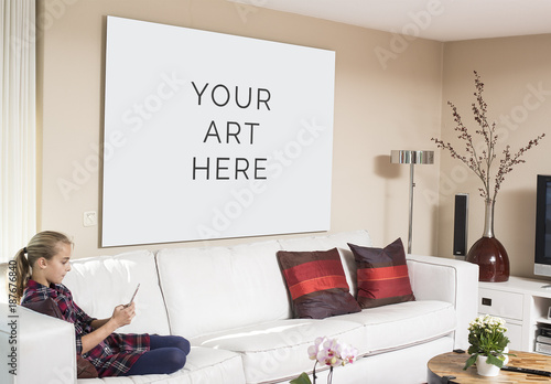 Large Wall Art in Living Room Mockup. Buy this stock template and ...