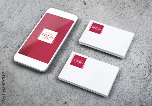Smartphone with Business Cards on Concrete Mockup. Buy this stock ...