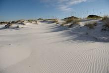 Pristine White Sand Beach And Sand Dunes With Beach Grass On Okaloosa Island, Florida, USA.