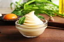 Mayonnaise Sauce On A Wooden B...
