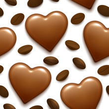 Seamless Pattern With Chocolate Heart Bonbon And Coffee Beans.