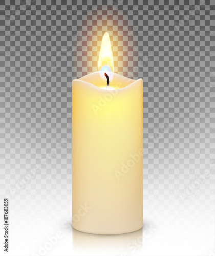 Obraz na plátne Candle burn with fire realistic isolated on transparent background
