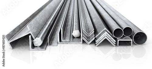 Poster Metal Rolled metal products. Steel profiles and tubes. 3d illustration