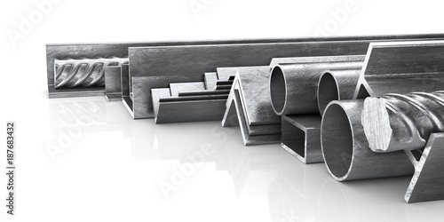Foto op Aluminium Metal Rolled metal products. Steel profiles and tubes. 3d illustration