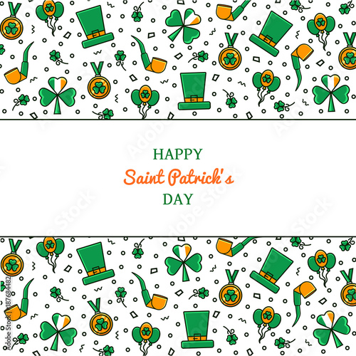 saint patrick s day background decorated with flat color line icons