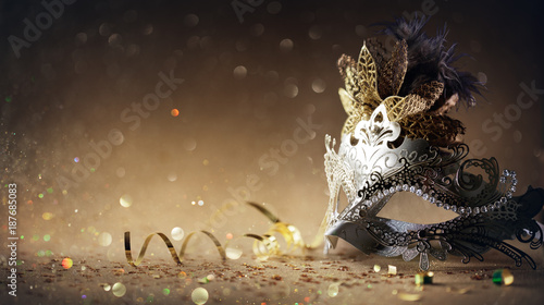 Obraz Venetian Mask On Dark Golden Background - Carnival Party