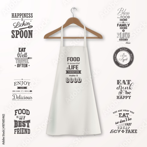 Vector Realistic White Cotton Kitchen Apron With Clothes Wooden Hanger And Quotes About Food Set Closeup