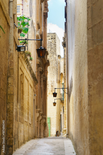 Poster Smal steegje Quiet narrow desert medieval street in silent city Mdina, Malta. Travel postcard vacation concept. Copy space. Vintage effect.