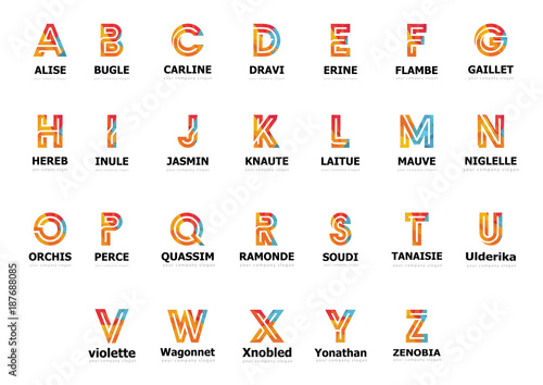 Logo collection, letters Template for your company Poster Mural XXL