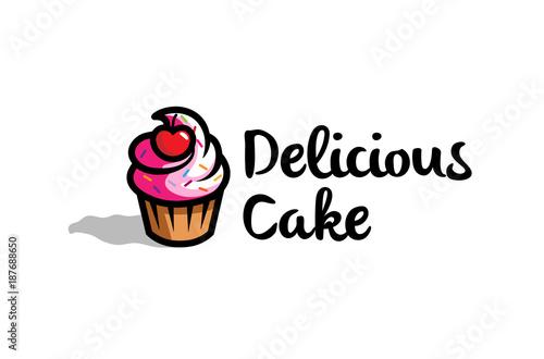 Fresh Delicious Cupcake With cherry Logo Design Symbol Illustration Wallpaper Mural