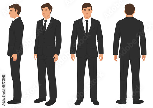 Fotografia, Obraz fashion man isolated, front, back and side view, vector illustration, businessm