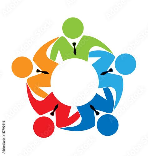 Vector Logo Teamwork Concept Of Communityworkersunitysocial