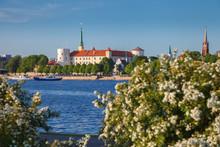 Old Town Of Riga And Daugava River, Riga, Latvia. Focus On The Old Castle.