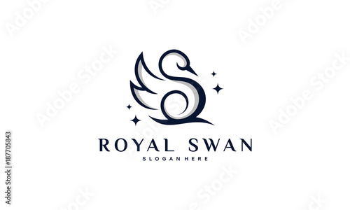 Fototapeta premium Luksusowe i eleganckie projekty logo Swan w ilustracji wektorowych stylu sztuki linii