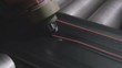 Machine Makes Red Marking on Tyre Rubber Macro