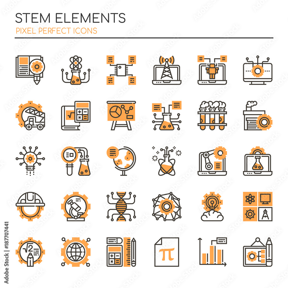 Fototapety, obrazy: STEM Elements , Thin Line and Pixel Perfect Icons.
