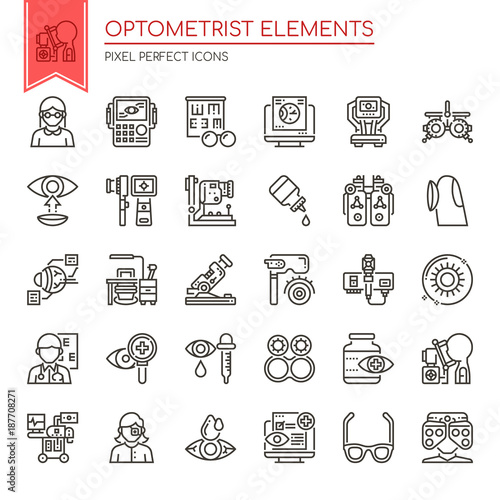 Fotografía  Optometrist Elements , Thin Line and Pixel Perfect Icons.