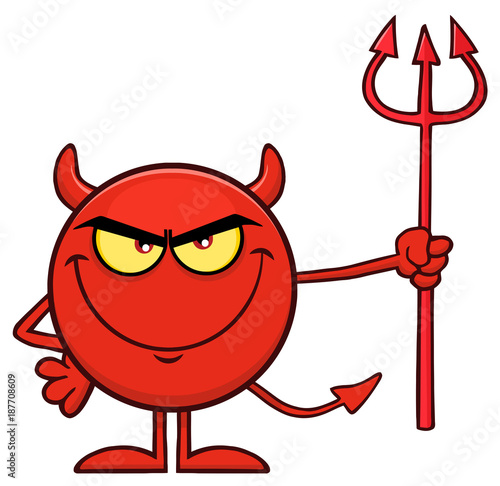 Fotografia Red Devil Cartoon Emoji Character Holding A Pitchfork