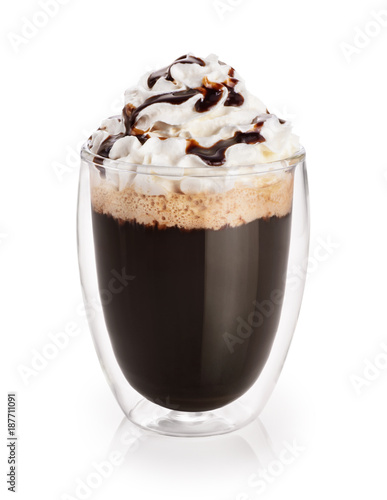 Spoed Foto op Canvas Chocolade Coffee with whipped cream in a glass with double walls isolated on white background. Chocolate sauce.