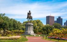 George Washington Statue In Boston Public Garden. Boston, Massachusetts, USA