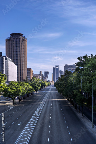View of one of the main streets of Madrid (Spain), empty
