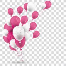 Pink White Balloons Transparent