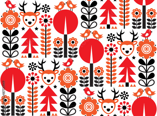 Finnish inspired seamless vector folk art pattern - Scandinavian, Nordic style w Wallpaper Mural