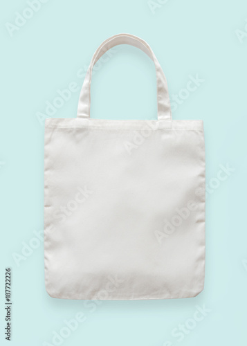 Canvas Tote Bag Mockup Blank White Eco Ping Sack Template Made Of Fabric Cloth Isolated On Pastel Blue Background Clipping Path For Bagging Mock Up