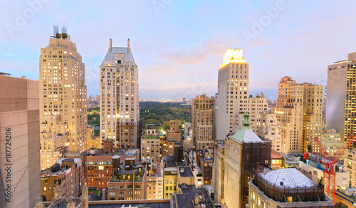 Aerial view of New York skyline on a beautiful evening Wallpaper Mural