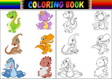 Fototapeta Dinusie - Coloring book with dinosaur cartoon collection