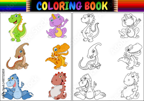 Photo Coloring book with dinosaur cartoon collection