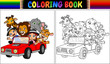 Coloring book with funny kids and animal cartoon on red car