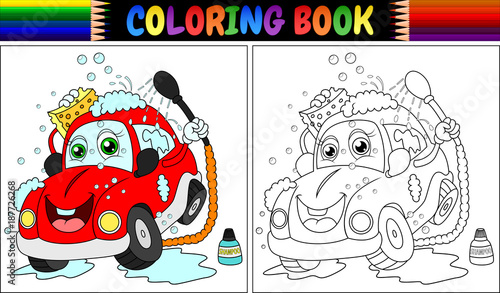 Foto op Canvas Cars Coloring book with red cartoon car washing
