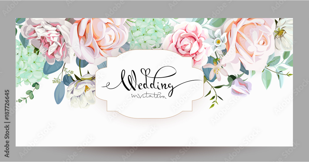 Fototapeta Wedding invitation with roses 3
